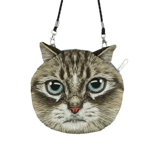 Buy Cute Women Shoulder Bag Cat Face Cartoon Print Zipper Closure Messenger Clutch Coin Purse