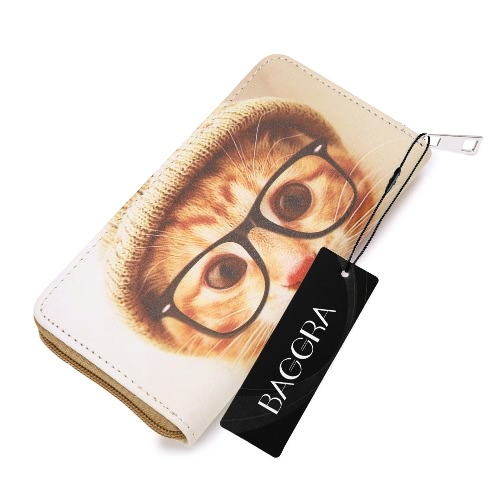 Buy Fashion Women Long Zipper Purse PU Leather Letter Cat Dog Printed Wallet Coin Phone Card Holder Clutch Bag