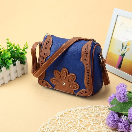 New Fashion Women Crossbody Bag PU Leather Floral Splice Hollow Out Casual Shoulder Bag
