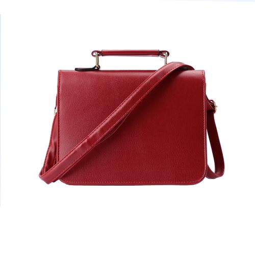 Buy Women Small Shoulder Bag PU Leather Rivet Round Panel Flap Front Strap Casual Handbag Crossbody