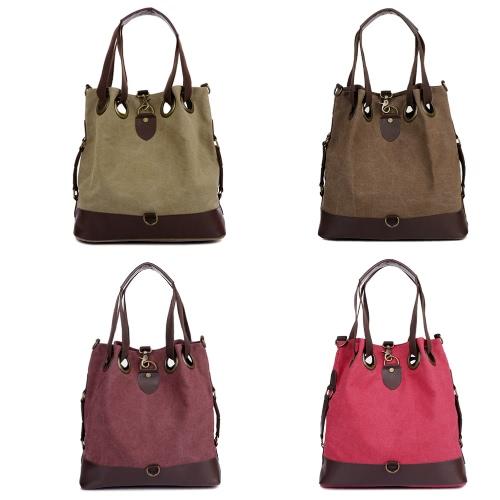Buy Vintage Women Casual Canvas Bucket Bag Pu Leather Large Capacity Durable Handbag Travel Shoulder Crossbody
