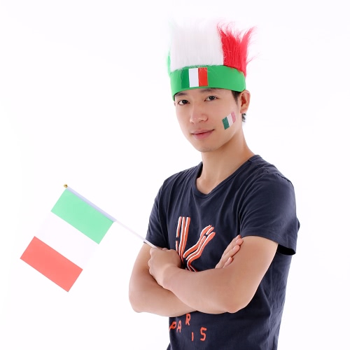 Anself Italy Flag Football Soccer Fans Wig Head Cap European Cup FIFA World Cup Sports Carnival Festival Cosplay Costume + Anself 10pcs/set Italy National Flag Temporary Tattoos Body Face Tattoo Sticker Patriotic Tattoos