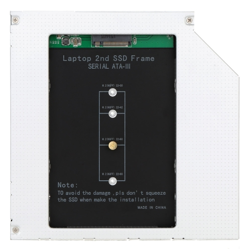 2nd SSD Frame M.2 (NGFF) to Sata for 12.7/9.5mm Universial CD/DVD-ROM Optical Drive Bay от Tomtop.com INT
