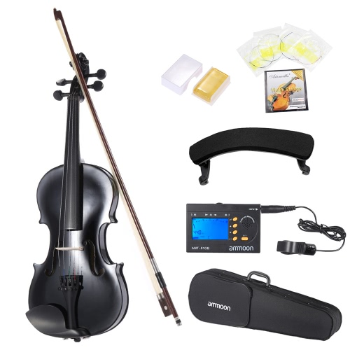 ammooon 1/4 Student Violin Metallic Black Equipped with Steel String w/ Arbor Bow for Beginners Music Lovers + ammoon AMT-01GB Multifunctional 3in1 Digital Tuner + Metronome + Tone Generator Universal Portable for Chromatic Guitar Bass Violin + 4pcs A Se