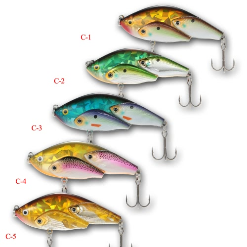 5pcs Group Fish Lures Floating SwimBait Hard Plastic 3d Fish Eye VIB Rattlin