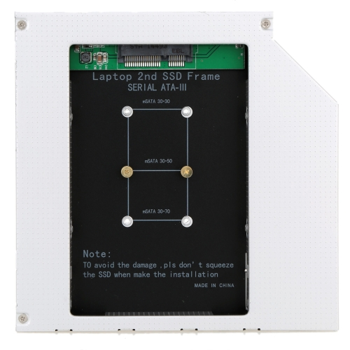 2nd SSD Frame mSATA to Sata for 12.7mm Universial CD/DVD-ROM Optical Drive Bay от Tomtop.com INT