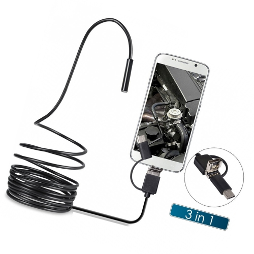 Buy 3 1 Inspection Camera Borescope Type-C & Micro USB Endoscope Waterproof IP67 2m