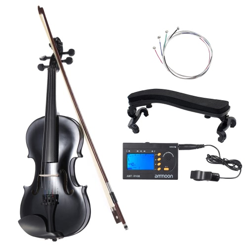 ammoon 44 Natural Acoustic Violin Fiddle Spruce Steel String with Case Arbor Bow for Music Lovers Beginners  ammoon AMT-01GB Multifunctional 3in1 Digital Tuner  Metronome  Tone Generator for Chromatic Guitar Bass Violin  4pcs A Set of Violin Strings  Vio