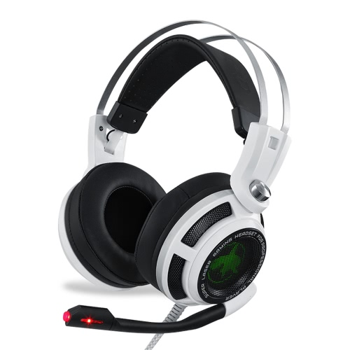 USB & 3.5mm Jack Bass Stereo Over-ear Esport Gaming Headset Headphone with Microphone Mic Vibration LED Light Good Sound Quality for PC Computer Desktop Gamer