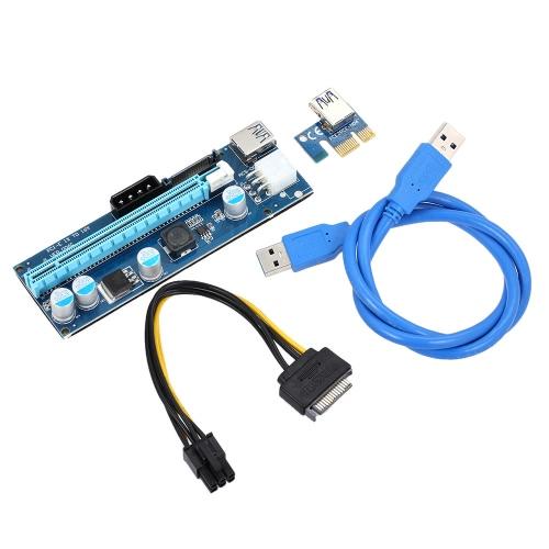 Buy 006C USB 3.0 PCI-E PCI Express Extension Cable 1X 16X Extender Riser SATA 15Pin 6Pin 4Pin Power Interface Mining Dedicated Graphics Card Adapter LED Indicator