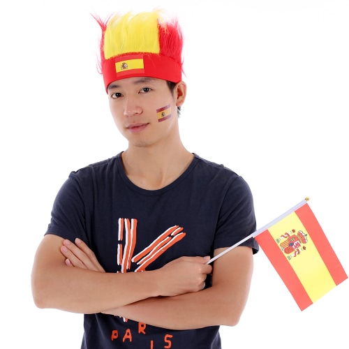 Anself Spain Flag Football Soccer Fans Wig Head Cap European Cup FIFA World Cup Sports Carnival Festival Cosplay Costume + Anself 10pcs/set Spain National Flag Temporary Tattoos Body Face Tattoo Sticker Patriotic Tattoos