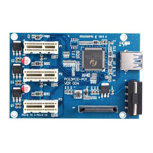 Buy USB 3.0 PCI-E PCI Express 1X 3-Port Expander 1 3 Ports Riser Card Adapter Multiplier Mining