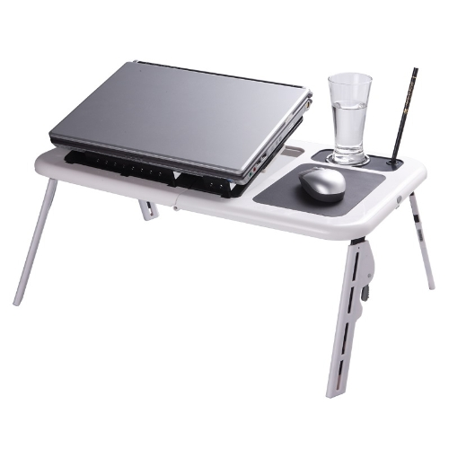 Hardware C1727 Adjustable Portable Laptop USB Folding Table with 2 Cooling Fans  Mouse Pad
