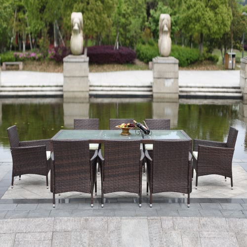 IKAYAA 9PCS Rattan Outdoor Patio Dinning Table Set Cushioned Garden Patio  Furniture Set