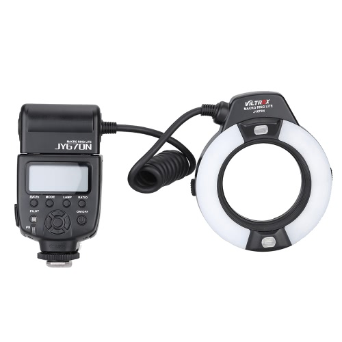 Viltrox JY-670N On-camera i-TTL Macro Close-up Fill-in LED Ring Flash Speedlite Light for D750 D810 D7200 D610 D7000 D5500 D5200 D5300 D3300 D3200 DSLR Camera with Adapter Ring(49mm/52mm/55mm/58mm/62mm/67mm) от Tomtop.com INT