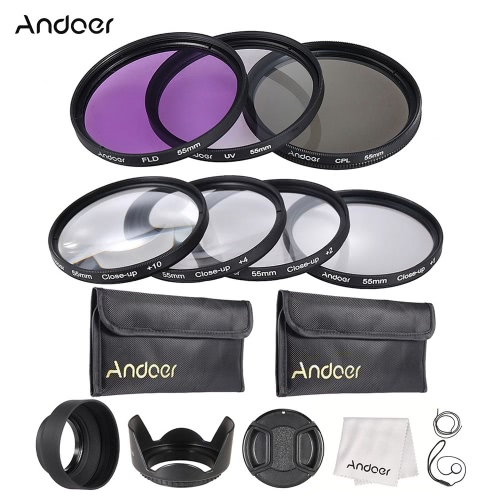 Buy Andoer 55mm UV + CPL FLD Close-up Lens Filter Kit Carry Pouch Cap Holder Tulip Rubber Hoods Cleaning Cloth