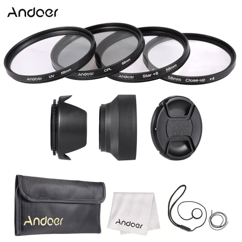 Buy Andoer 58mm Lens Filter Kit Cap Holder Tulip Rubber Hoods Cleaning Cloth