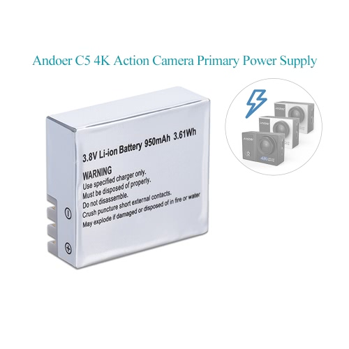 Buy 950mAh Rechagreable Battery Backup Power Pack Supply 3.8V 3.61Wh Andoer C5 Action Camera