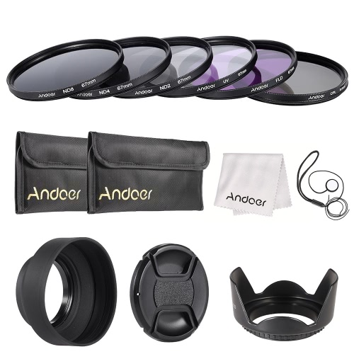 Buy Andoer 67mm Lens Filter Kit UV+CPL+FLD+ND(ND2 ND4 ND8) Carry Pouch / Cap Holder Tulip & Rubber Hoods Cleaning Cloth
