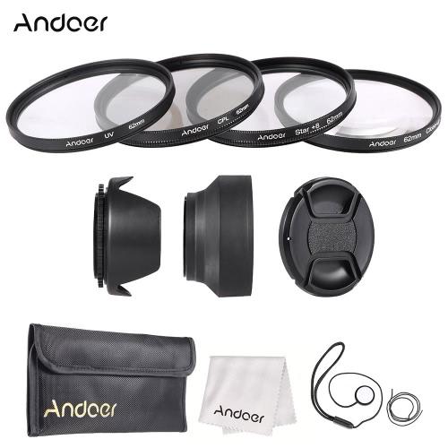 Buy Andoer 62mm Lens Filter Kit Cap Holder Tulip Rubber Hoods Cleaning Cloth