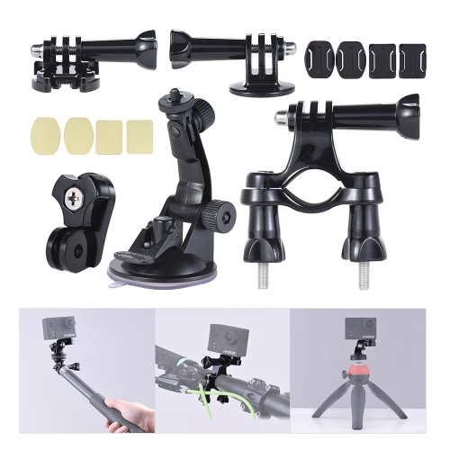 Universal Mount Base Accessories Holder Support w/ Suction Cup + Flat/Round Mount + Bicycle Mount for Sports Action Cam 360�� VR Video Camera