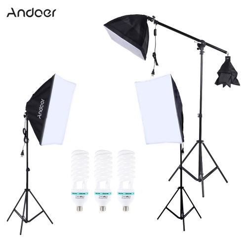Buy Professional Photography Photo Lighting Kit Set 5500K 135W Daylight Studio Bulb Light Stand Square Cube Softbox Cantilever Bag