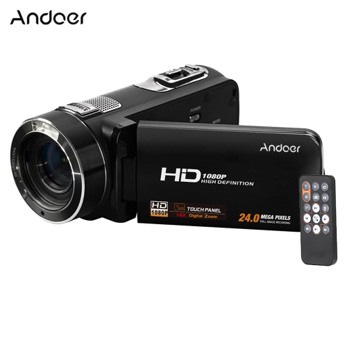 Andoer HDV-Z8 1080P Full HD Digital Video Camera Camcorder 16u00d7 Zoom Rotation LCD Touch Screen Max. 24 Mega Pixels Support Face Detection