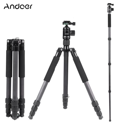 Buy Andoer Foldable Portable Carbon Fiber Tripod 15KG Maximum Loading Unipod Monopod 36mm Ball Head 28mm Max Tube Diameter Canon Nikon Pentax Sony DSLR Camera