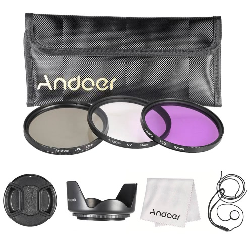 Buy Andoer 62mm Filter Kit (UV+CPL+FLD) + Nylon Carry Pouch Lens Cap Holder Hood Cleaning Cloth