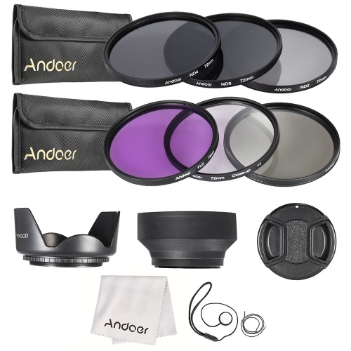 Buy Andoer 72mm Lens Filter Kit UV+CPL+FLD+ND(ND2 ND4 ND8) Carry Pouch / Cap Holder Tulip & Rubber Hoods Cleaning Cloth