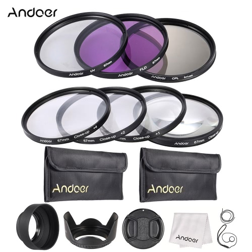 Andoer 67mm UV + CPL FLD Close-up(+1+2+4+10) Lens Filter Kit Carry Pouch Cap Holder Tulip & Rubber Hoods Cleaning Cloth
