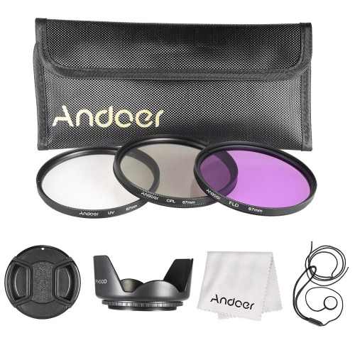 Buy Andoer 67mm Filter Kit (UV+CPL+FLD) + Nylon Carry Pouch Lens Cap Holder Hood Cleaning Cloth