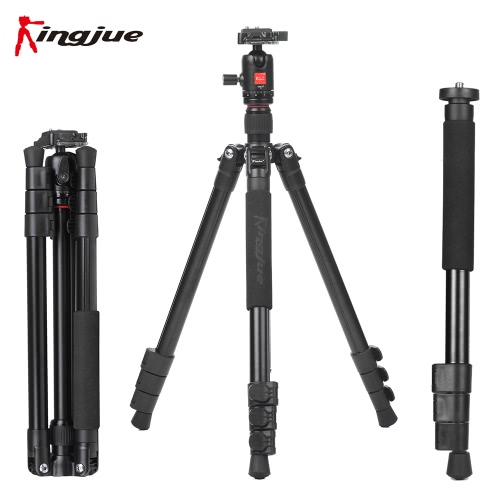 Buy Kingjue BT-258+QB-0T Aluminum Alloy Lightweight Portable Camera Tripod Monopod 360u00b0 Panorama Ball Head Canon Nikon Sony DSLR