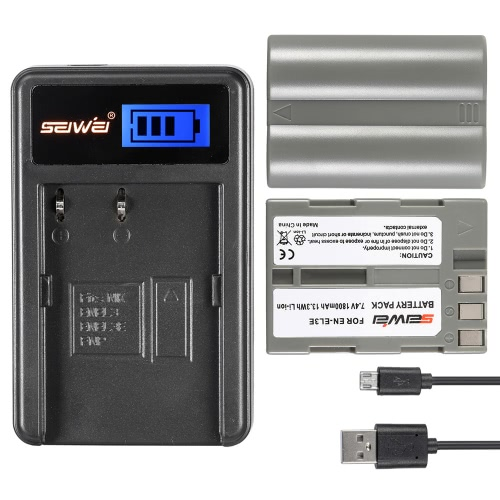 Buy 2 Pack 7.4V 1800mAh High Capacity Rechargeable Li-ion Battery LCD USB Charger Kit Nikon D700 D300 D300S D50 D80 D90 D100 D200 Camera Replacement EN-EL3 EN-EL3E