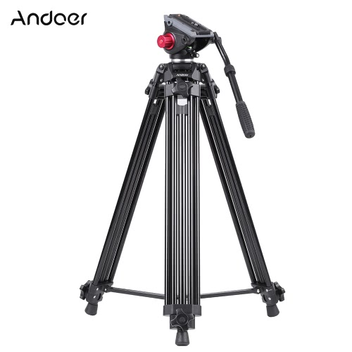 Buy Andoer Professional Aluminum Alloy Camera Video Tripod Panorama Fluid Hydraulic Head Ballhead Canon Nikon Sony DSLR Recorder DV Max Height 67 Inches Load 10KG Carrying Bag