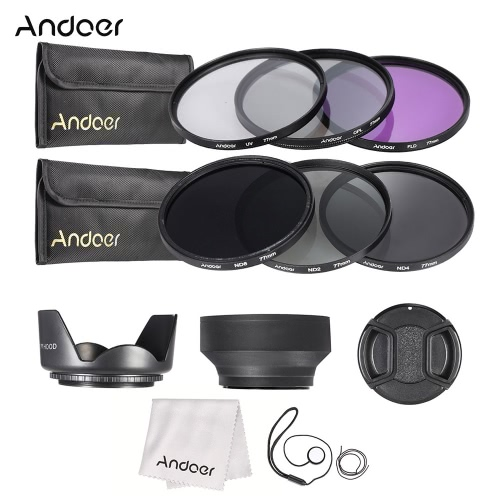 Buy Andoer 77mm Lens Filter Kit UV+CPL+FLD+ND(ND2 ND4 ND8) Carry Pouch / Cap Holder Tulip & Rubber Hoods Cleaning Cloth