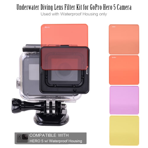 Underwater Diving Lens Filter Kit for GoPro Hero 5 Camera Used with Waterproof Housing only от Tomtop.com INT