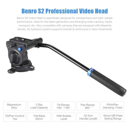 Buy Benro S2 Professional Video Head Fluid Hydraulic Damping 3D Tripod Camera Monopod Max Load 2.5Kg