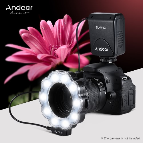 Andoer SL-102C GN15 Macro LED Ring Round Flash Fill-in Light Lamp Brightness Adjustable LCD Display for Canon Nikon Pentax Olympus DLSR Camera 40.5mm/52mm/55mm/58mm/62mm/67mm/72mm/77mm Lens Studio Photography от Tomtop.com INT