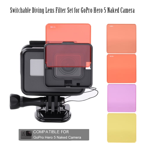 Switchable Diving Lens Filter Set for GoPro Hero 5 Naked Camera от Tomtop.com INT