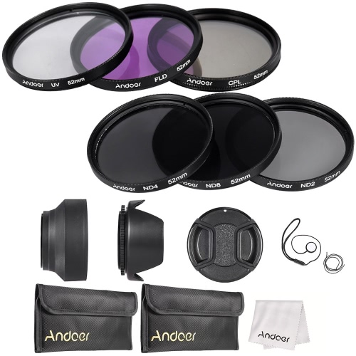 Buy Andoer 52mm Lens Filter Kit UV+CPL+FLD+ND(ND2 ND4 ND8) Carry Pouch / Cap Holder Tulip & Rubber Hoods Cleaning Cloth
