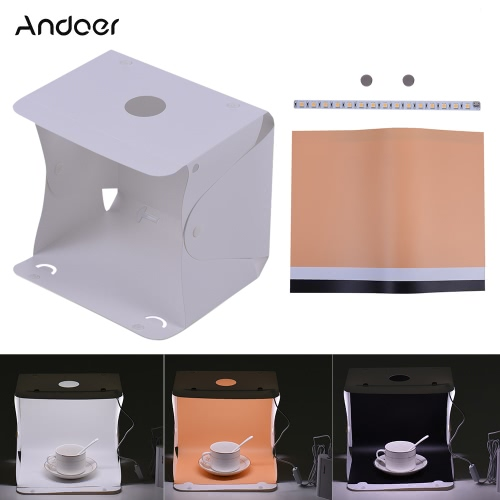 Buy Andoer Q1A 25 * 20.7cm/9.8 8.1in Folding Collapsible Foldable 15 LED Mini USB Softbox Lightbox Cube Diffusion Tent Kit 3 Colors Background Canon Nikon Sony DSLR Camera Smartphone Photo Studio Shooting Photography