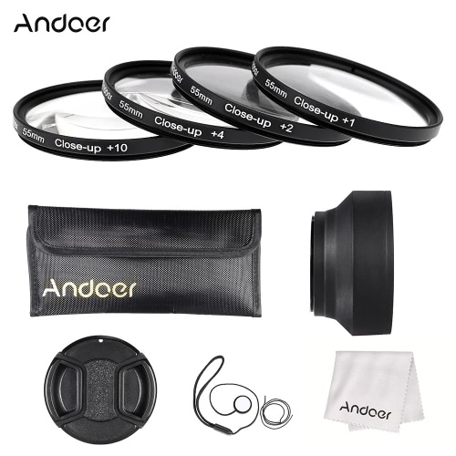 Buy Andoer 55mm Close-up Macro Lens Filter Set(+ 1 +2 +4 +10) Accessories(Lens Pouch + Collapsible Hood Cap Holder Cleaning Cloth)