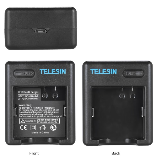 TELESIN Mini Dual USB Charger for Xiaomi Yi Action Sports Camera AZ16-1 Battery with Micro USB Cable