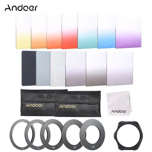 Buy Andoer 1Square Gradient Full Color Filter Bundle Kit Cokin P Series Holder + Adapter Ring(52mm / 58mm 62mm 67mm 72mm ) Storage Bag Cleaning Cloth