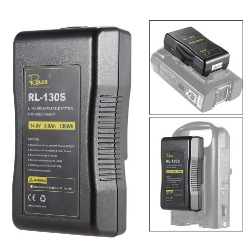 Buy ROLUX RL-130S Broadcast Quality V Mount Li-ion Battery Pack 14.4V 130Wh Rechargeable Professional Video Camera