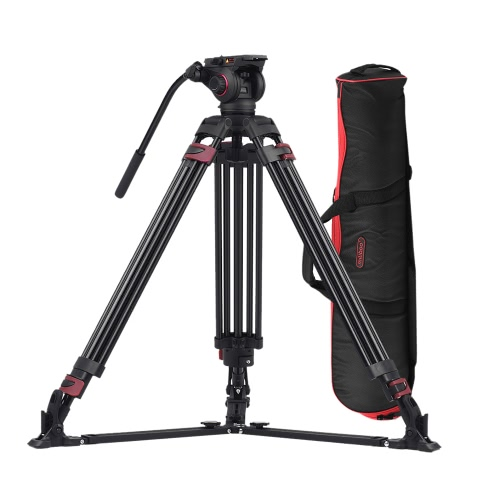 Miliboo MTT609A Professional Photography 3 Sections Tripod Stand Aluminum Alloy with 360° Panorama Fluid Hydraulic Bowl Head Max. Height 170cm/ 5.6ft Load Capacity 15kg for Canon Nikon Sony DSLR Cameras Camcorders от Tomtop.com INT