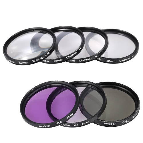 Buy Andoer 52mm UV + CPL FLD Close-up(+1+2+4+10) Lens Filter Kit Carry Pouch Cap Holder Tulip & Rubber Hoods Cleaning Cloth