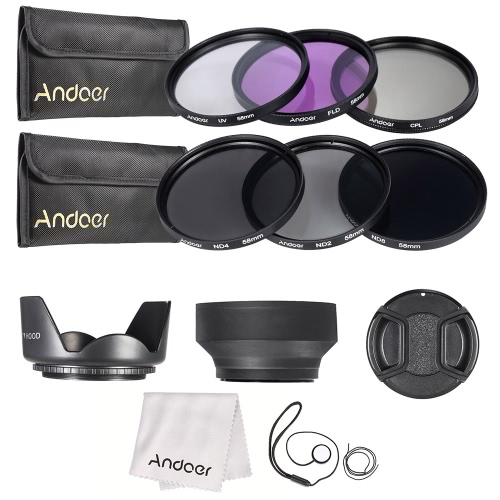 Buy Andoer 58mm Lens Filter Kit UV+CPL+FLD+ND(ND2 ND4 ND8) Carry Pouch / Cap Holder Tulip & Rubber Hoods Cleaning Cloth