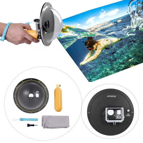 """Andoer 6"""" Semicircular Underwater 5M Waterproof Cover Acrylic Housing Diving Lens Dome Port with Floating Handheld Grip for Gopro Hero 4/3+/3 Sports Camera Action Cam от Tomtop.com INT"""